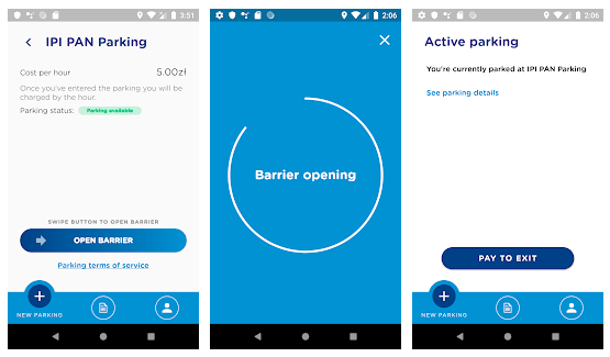 Using NaviPay app for parking payment on screenshots
